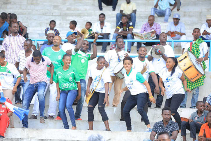 Gor Mahia fans dancing during the half-time entertainment at Uhuru Stadium in Dar-es-Salaam during the 2017 SportPesa Super Cup final on June 11, 2017. PHOTO/AFP