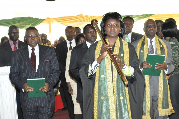 Gladys Boss Shollei during her swearing in as the chief registrar