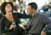black man and woman on a date