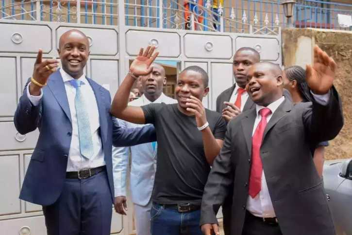 Samuel Abisai (centre), the morning he was picked up after winning the SportPesa Megajackpot in May 2017. Photo / COURTESY