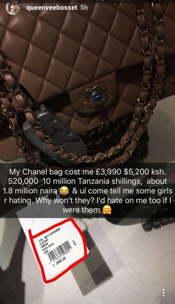 Vera Sidikas Kes 500000 handbag - 10 Expensive things Vera Sidika owns that can fund a Governor's campaign