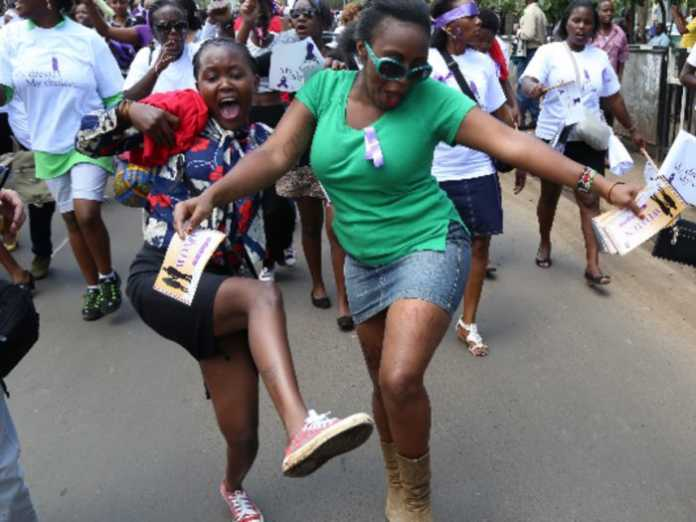 Women protest along city streets over the stripping of a woman by conductors for alleged indecent dressing in November last year. PHOTO/The Star Kenya