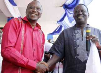 A file photo of President Uhuru Kenyatta and Opposition leader Raila Odinga. Photo / REUTERS