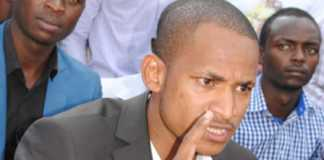 Babu Owino at a media conference