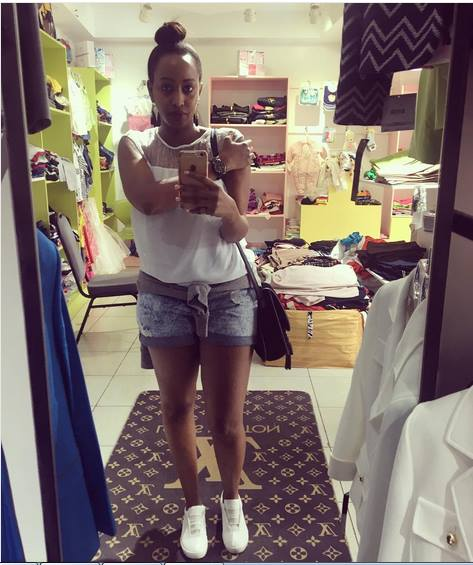 Janet Mbugua rocking booty shorts