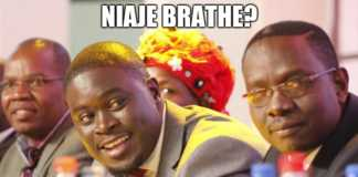 "Former TNA chairman Johnson Sakaja and secretary general Onyango Oloo in a ""tununue Mzinga"" meme from twitter. Photo / COURTESY"