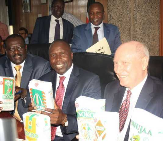 File photo of Agriculture CS Willy Bett [C], PS Richard Lesiyampe and Cereal Millers Association Nick. Photo / The Star Kenya