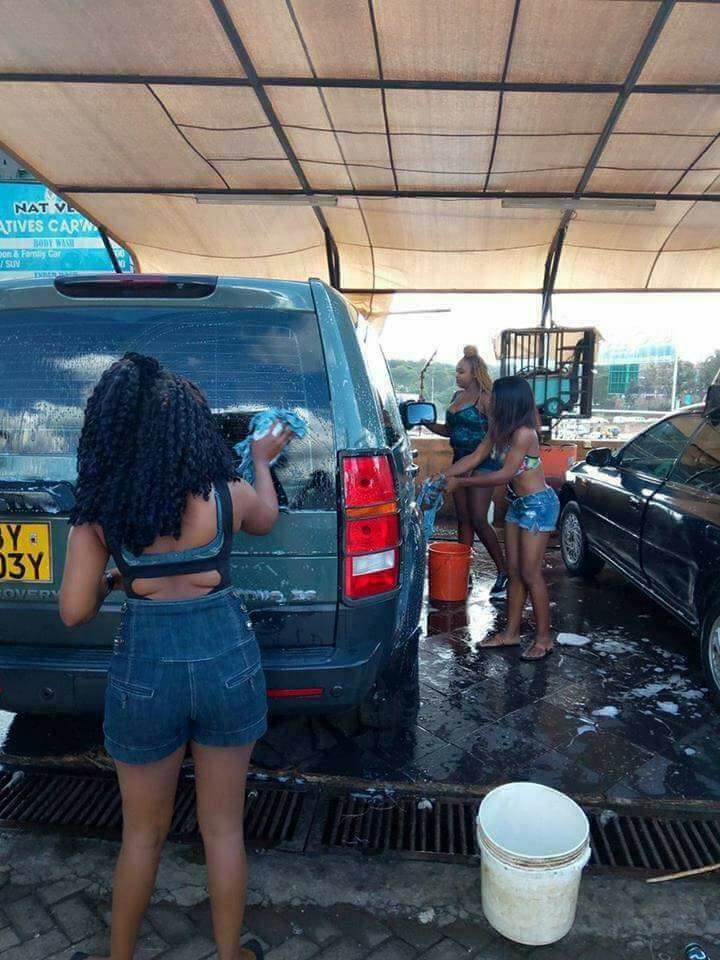 Slay queens at a car wash