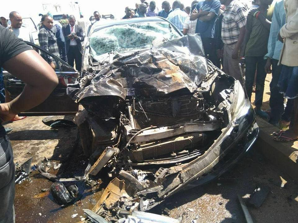 Starehe MP Jaguar at the accident scene