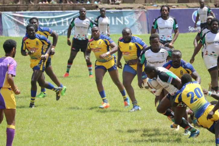 Isaac Adimo surges forward for Quins during their 41-39 Kenya Cup defeat to Homeboyz at the RFUEA Ground on Tuesday 28 November 2017. Photo / kenyacup.co.ke