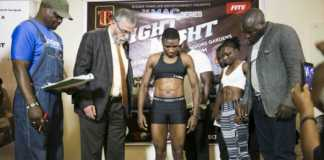Fatuma Zarika weighs in ahead of her match with Catherine Phiri, showing her detailed 6-pack. Photo / SPN