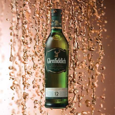 The 12 year old variant of Glenfiddich whisky (also known as Glenfiddich 12