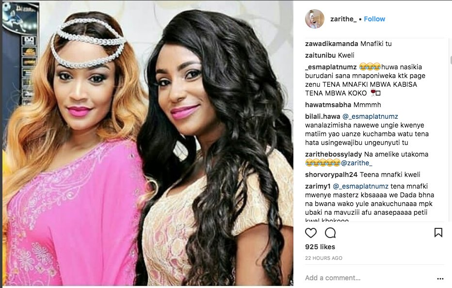 Screen Shot 2018 02 09 at 6 53 37 AM - Amependeza mashemeji! Esma Platnumz praises Diamond's bae Tanasha Donna