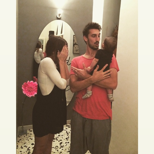 Davide Astori with his wife and daughter
