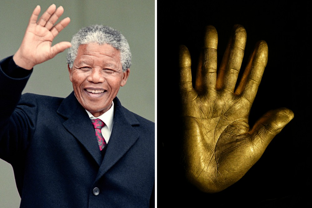 Nelson mandela golden hands