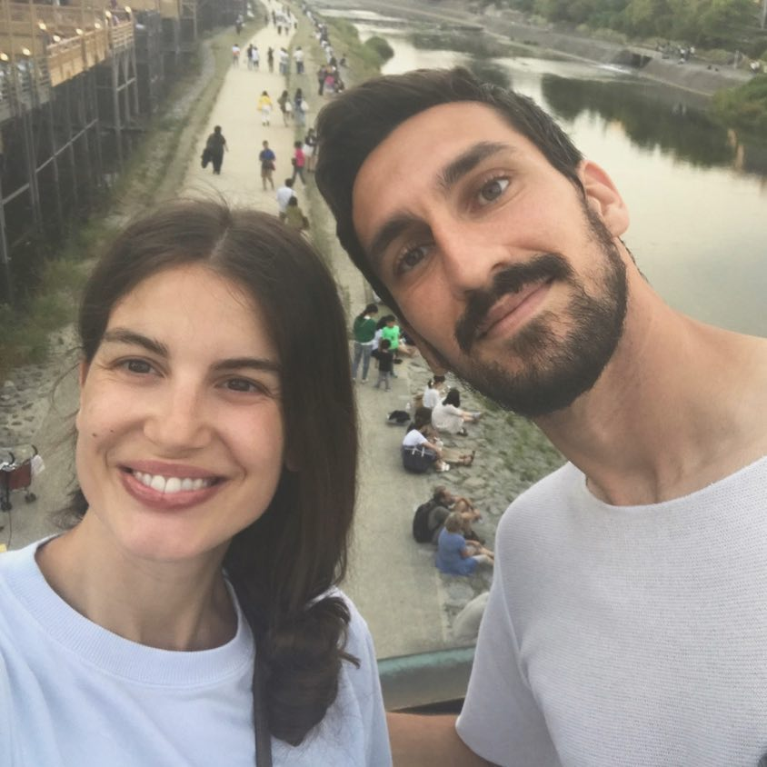 Davide Astori with his wife