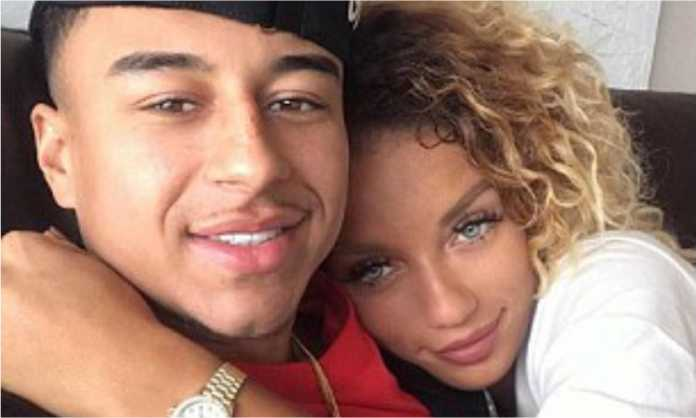 Manchester United player Jesse Lingard with his girlfriend