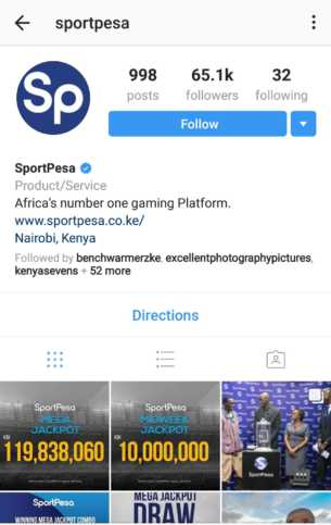 Screenshot o SportPesa Instagram with multiple posts. The account has seemingly been hacked with posts deleted.