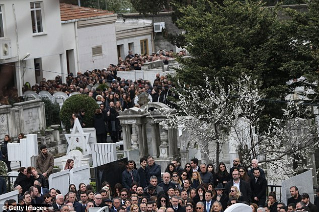 Relatives and friends of Liana Kalma Hananel gather to attend her funeral ceremony at the Ulus Sephardi Jewish Cemetery also known as the Arnavutkoy Jewish Cemetery, in Istanbul, Turkey