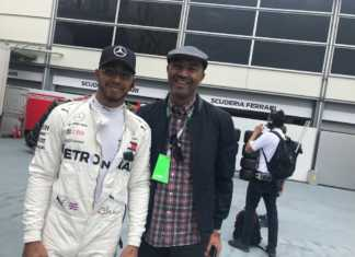 Peter Kenneth and Lewis Hamilton