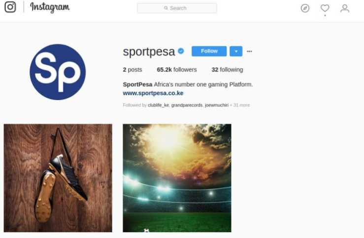 Screenshot from SportPesa Instagram