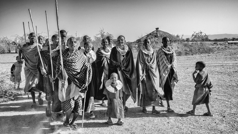 Maasai clan walking