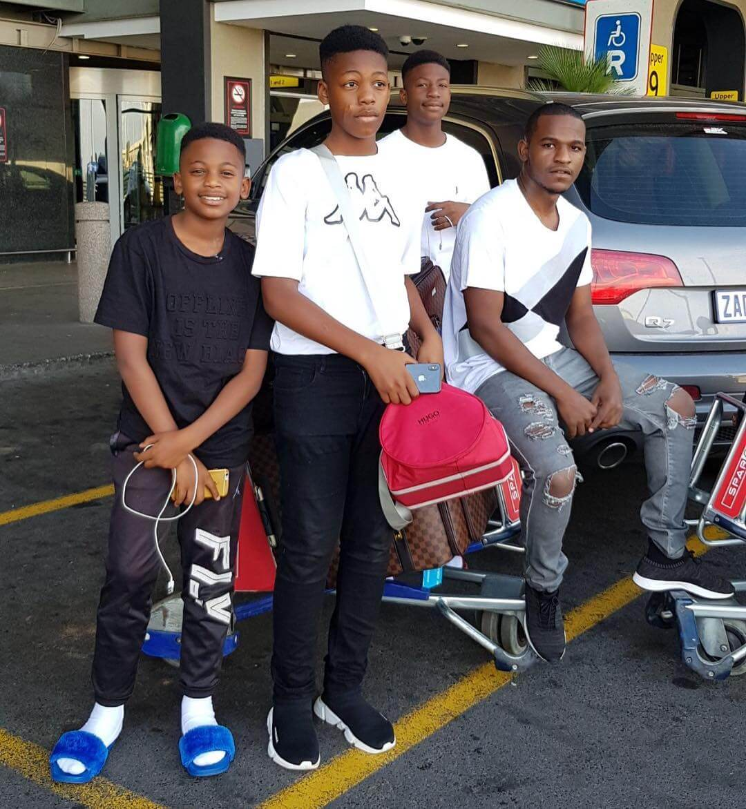 Zari's kids and Brother at the airport