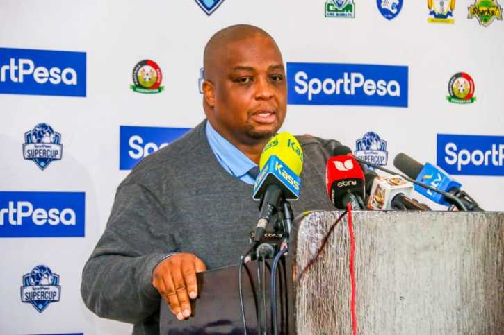 FKF CEO Herbert Mwachiro speaking at the launch of the SportPesa SuperCup in Nairobi. Photo / SPORTPESA