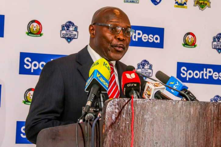 Gor Mahia Chairman, Ambrose Rachier during the launch at The Sarova Stanley Hotel. Photo / SPORTPESA