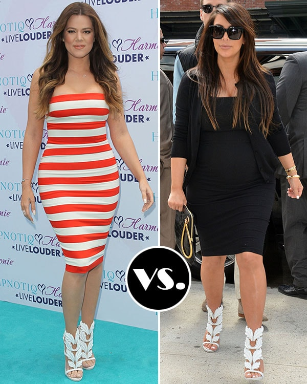 Kim and Khloe wearing the shoes