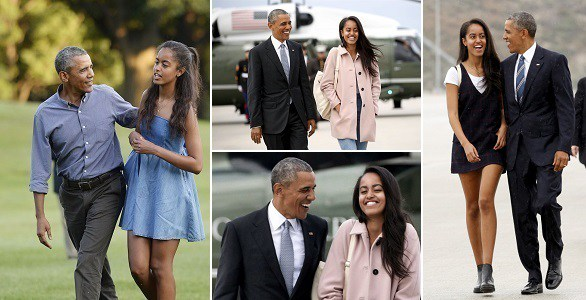 Obama with his daughter Malia