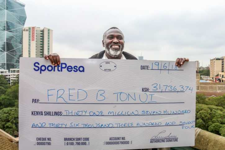 Tonui says he's still figuring out his plans for the sh. 31 million that he won. Photo / SPORTPESA