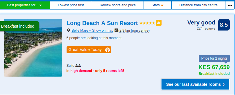 The hotel prices