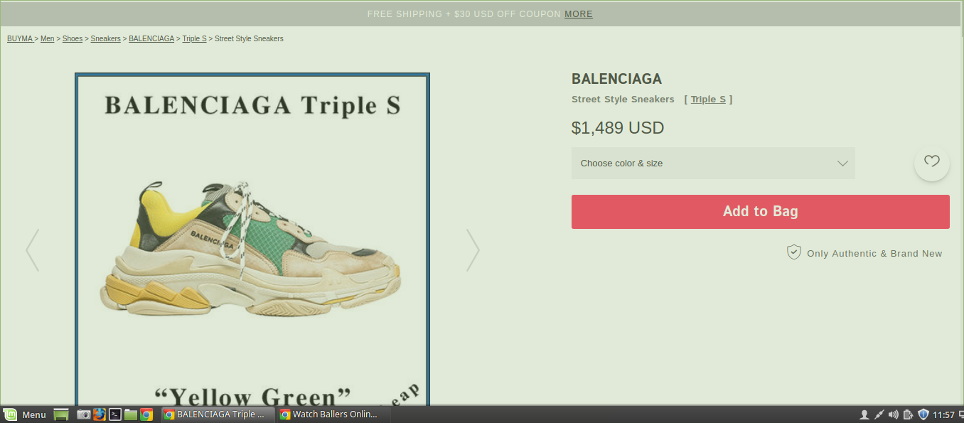 Screenshot of the shoes