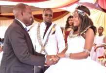 William Ruto congratulates the newly wed