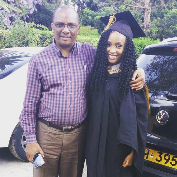 Actress Joyce Maina with her father