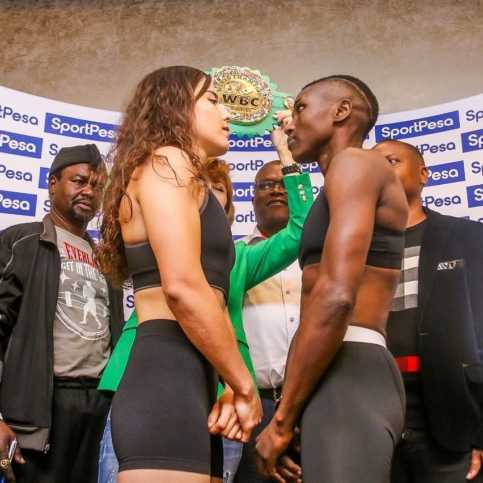 Fatuma Zarika faces off with Yamileth Mercado ahead of their September 8th fight. Photo / SPORTPESANEWS