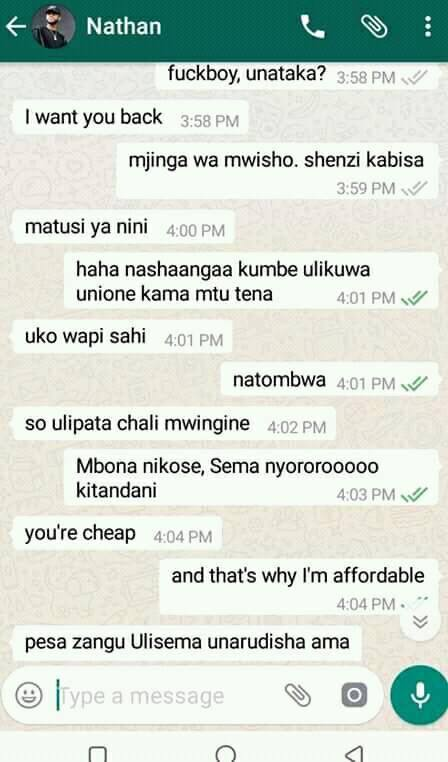 women17 - Funny WhatsApp conversation between desperate Kenyan man and angry ex