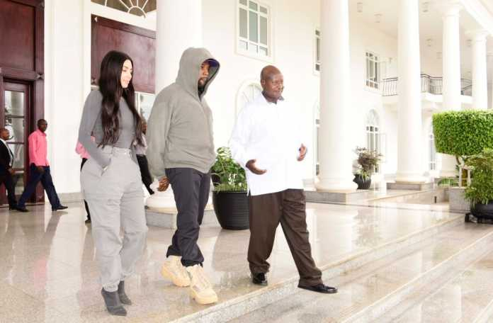 Kanye and Kim meeting Yoweri