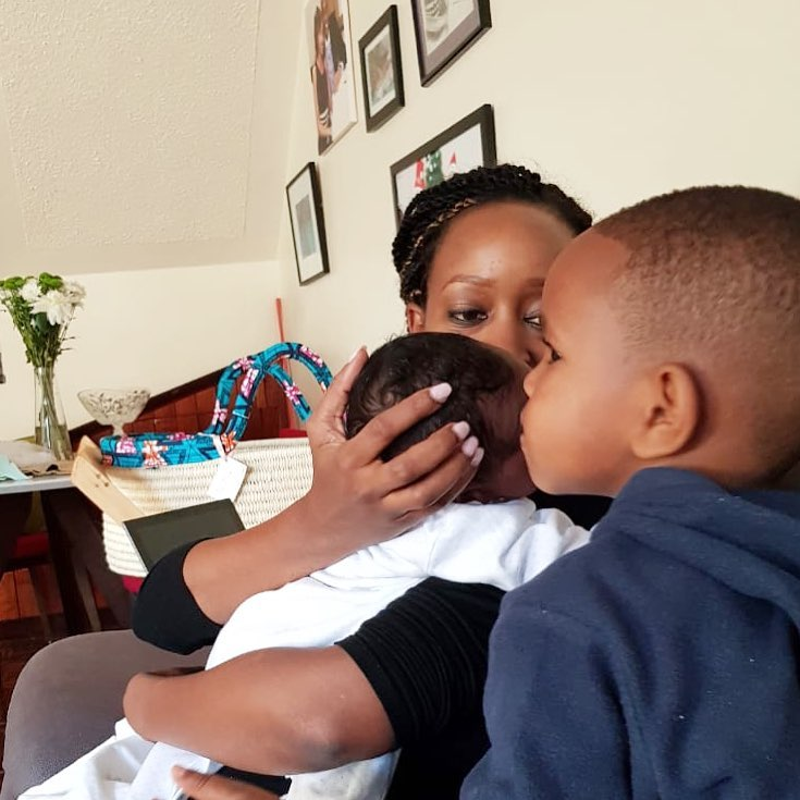 Janet Mbugua with her sons