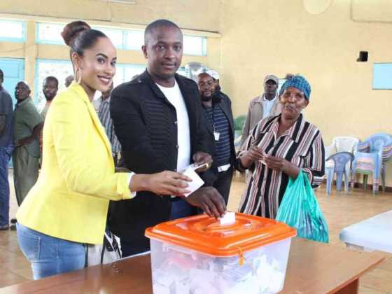 Steve Mbogo voting with his wife