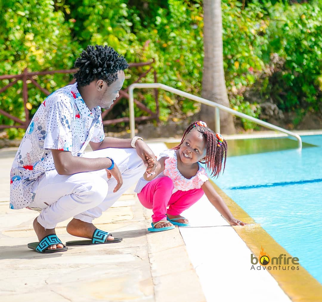 Bahati with his daughter, Mueni