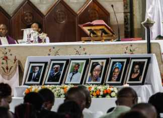 Portraits of six DusitD2 Hotel victims during a joint mass at the Consolata Shrine in Nairobi yesterday