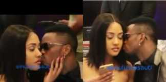 Diamond Platnumz and Tanasha kissing