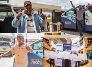 SportPesa Midweek Jackpot winners Jackson Gitahi, Nicholas Kirui and Daniel Sumaili. Photo / SPORTPESA NEWS