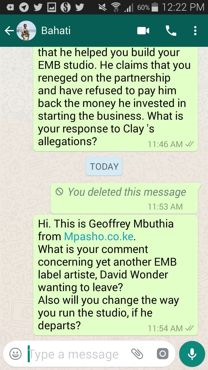 WhatsApp Image 2019 02 11 at 12.23.59 - What is going on? David Wonder ponders leaving Bahati's label record
