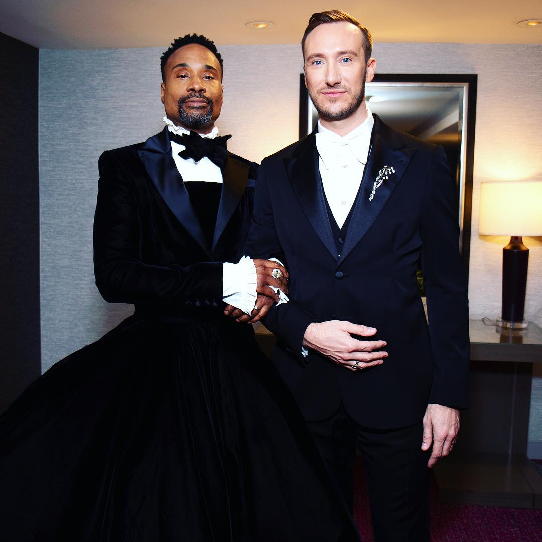 billy and husband - Gay Hollywood actor wears dress to the Oscars [PHOTOS]