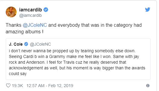 cardi b 2 - Rapper Cardi B shuts down haters after Grammy win