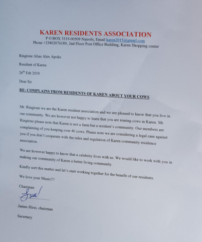 karen residents Associations - Ringtone denies letter full of errors from 'Karen residents' association' is fake