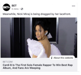 nicki 271x250 - Cardi B 'dragging Nicki Minaj by her wig' tweet makes rapper cancel BET gig